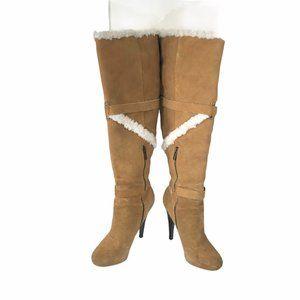 Halston Camel Suede Knee High Stiletto Boot